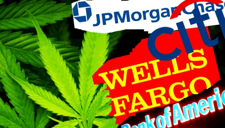 jp morgan and wells fargo logo with marijuana leaves